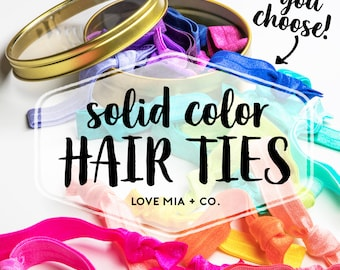 YOU CHOOSE | Solid Color Elastic Hair Ties, Bulk Wholesale Assorted Solid Color Hair Ties, Creaseless Elastic Hair Ties by Love Mia + Co.