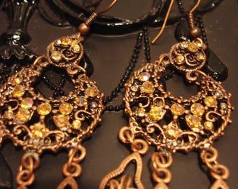 Vintage 1990s Boho Copper In Rhinestone Chandelier Earrings