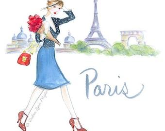 Paris Art, Fashion Wall Art, Fashion Illustration, Watercolor Paris City Art, Girly Art, Dressing room Art