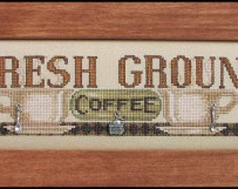 Fresh Ground Coffee - Cross Stitch Pattern - Hinzeit Coffee Counted Cross Stitch Pattern - Coffee Cups Cross Stitch - Coffee Cross Stitch