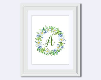 Monogram A - Monogram print - chamomile flowers - floral monogram - Wedding printable -   Monogram Wall Art - Home Decor - Instant download