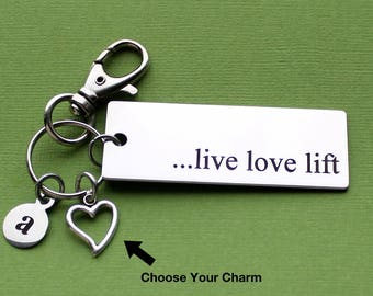Personalized Fitness Key Chain Live Love Lift Stainless Steel Customized with Your Charm & Initial - K885