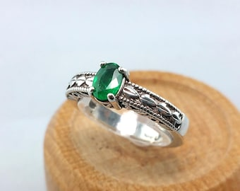 1/3 ct Emerald Ring in Sterling Silver / Natural Oval Cut Emerald Vintage Style Filigree Ring May Birthstone / De Luna Gems / Free Shipping!