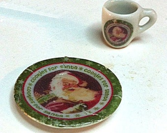 "Miniature ""Cookies for Santa"" Plate and Matching Mug (CER033)"