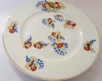 "French vintage Limoges plate, ""PL"" France,  brown,blue, mustard tones, vintage French plate"