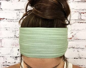 Bamboo Stripes - Sage - Eco Friendly Yoga Headband