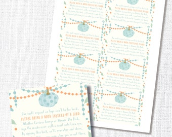 Pumpkin Book Request Insert Card, Printable, Fall Baby Shower Library Card, Boy Shower, Stock the Library, Bring A Book, Instant Download