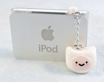 Finn (of Adventure Time) Dust Plug, Phone Charm, For iPhone or iPod, or Cell Phone Strap :D