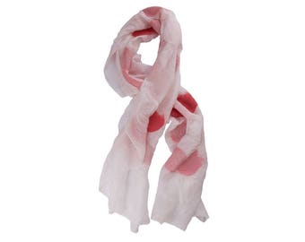 Nuno Felted Silk Scarf in White with Shades of Pink