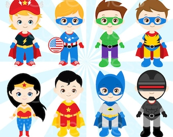 Superhero Clipart, Superhero Clip Art, Superhero Digital Clipart