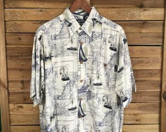 Camisa Estampada Nautica Barcos Print Seaside Vintage