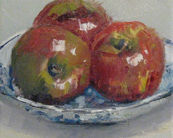 Kitchen Painting Apples on Blue and White Plate Still Life Small Original Oil Canvas Palette Knife Modern Impressionist Jennifer Boswell