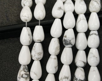 Natural White Howlite Stone Teardrop beads 8x12mm- Central Drilled- 33pcs/strand