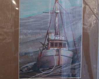 original art deserted dry dock boat 8x10 matted wall decor color pencil drawing