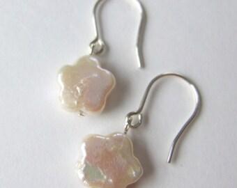 Freshwater Pearl Flower French Hook Sterling Silver Earrings E001