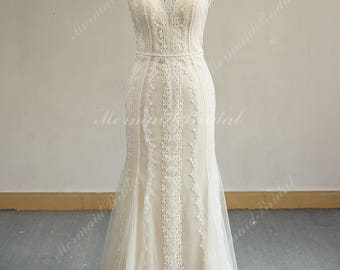Romantic Open Back Fit and Flare Vintage Lace Wedding Dress, Boho Wedding Dress, Mermaid Wedding Dress With Pearl Belt and Blush Lining