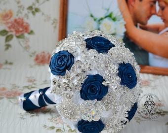 Navy blue bouquet, White bouquet, Brooch Bouquet, Wedding Bouquet, Bridal Bouquet, Crystal bouquet, Bridesmaids bouquet, Silver Bouquet