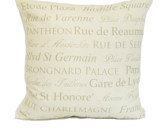 clearance discontinued 50 % off  huge sale destination throw pillow cover khaki cream paris french typography linen decor 18x18