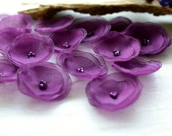 Organza sew on flower appliques, wedding flowers, bulk flowers, artificial cloth flowers, poppy applique (15pcs)- VIOLET PURPLE BLOSSOMS