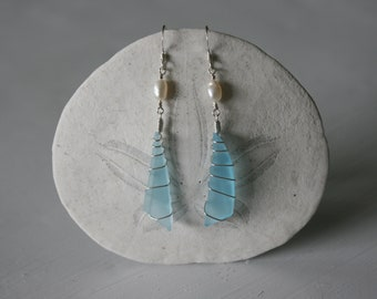 White Pearl & Blue Recycled Glass Earrings