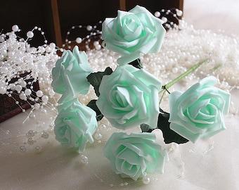 Green flowers etsy mint wedding flowers artificial roses mint green flowers for bridal bouquet wedding centerpieces arrangement mightylinksfo Images