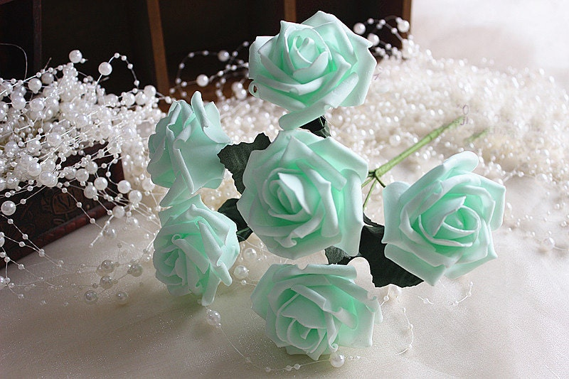 Mint wedding flowers artificial roses mint green flowers for zoom junglespirit Image collections
