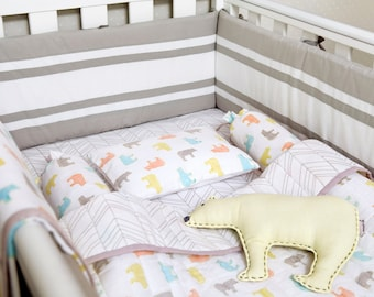 Curious Bear-Organic Crib Bedding Set, Baby Bedding Set, Baby Blanket, Baby Bedding, Baby Crib, Bear Crib Set, Gender Neutral Bedding Set
