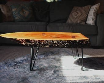 Cherry live edge coffee table with hairpin legs