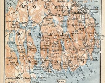 1904 Mount Desert Island Maine, featuring Bar Harbor, Antique Map
