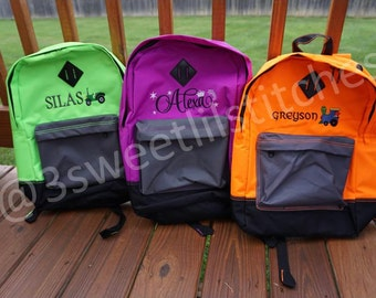 Personalized Backpacks, Bright Neon Colors, Retro Bookbag with Multiple Pockets & Media Port, Embroidered Name and Design, Kids to Adults