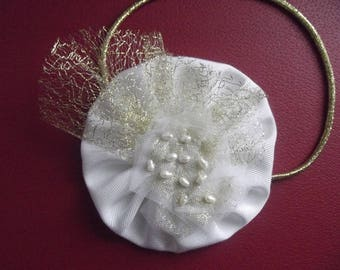 White bridal headband gold tulle and pearls