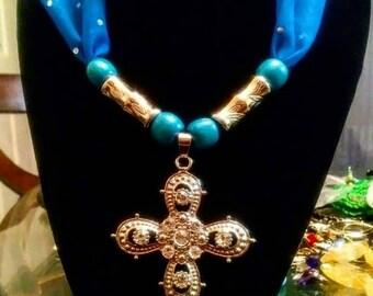 Saphire Sparkle Cross Necklace