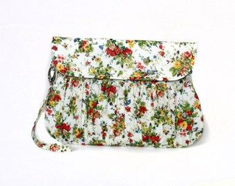 Little Bouquet Clutch in Cream, Green and Orange - Bridesmaid clutch, spring / summer floral clutch