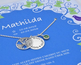 Baptismal tree 925 silver necklace with gift box Personalized gift wrap