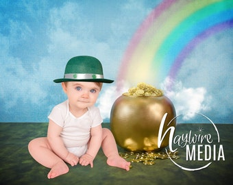 Baby, Toddler, Child, Cute St Patrick's Day Photography Digital Backdrop Prop for Photographers with Pot of Gold and Rainbow