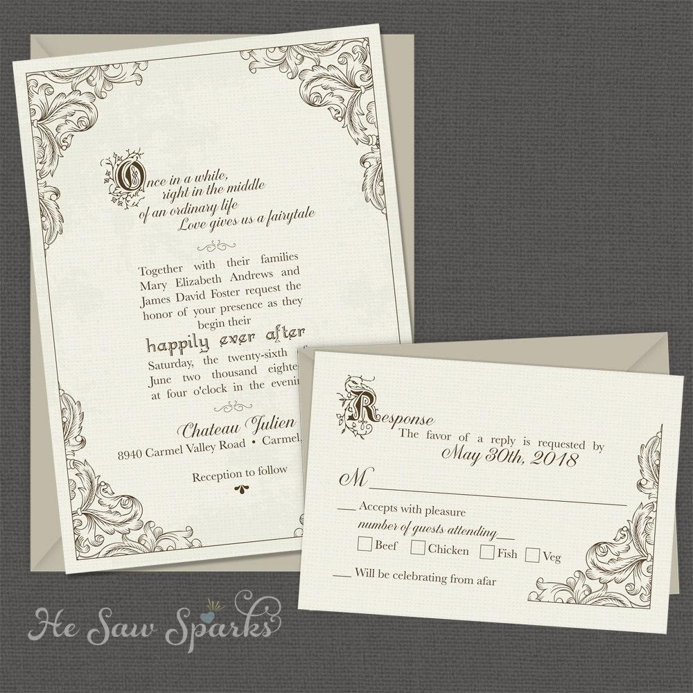 Fairytale printable wedding invitation happy endings zoom monicamarmolfo Images