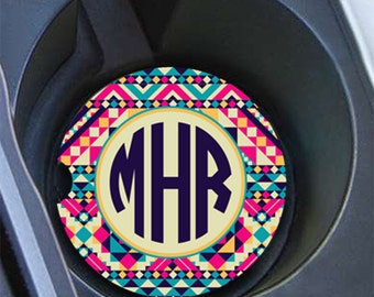 Birthday gift for her, Monogram car coaster, Personalised cup holder coaster, Tribal vanity car accessories, Cute Aztec car decor  (1261)