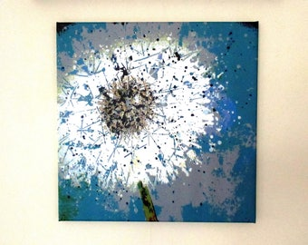 """Dandelion Clock. Medium canvas print from an original painting by Suzanne Patterson. 16 x 16"""". Ready to hang."""