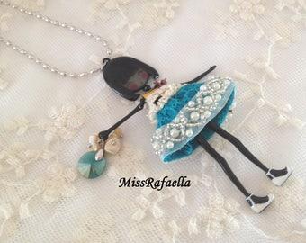 Mabel enamelled doll Necklace.