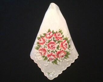 Floral Handkerchief, Red Roses Hankerchief, 1950's Flower Bouquet Hankie, Hanky