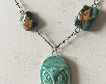 Owl and leaves necklace