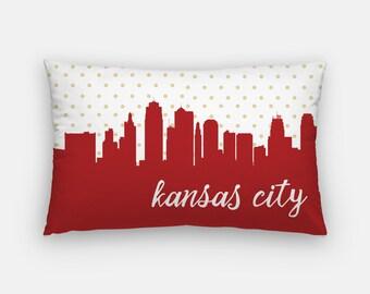 Kansas City skyline pillow | Kansas City decor | MIssouri home decor | Missouri pillow | polka dot pillow | Kansas City gift | Missouri home
