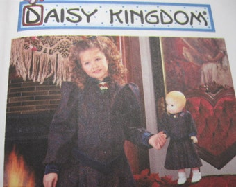 """UNCUT FF 90's Daisy Kingdom Girls Dress and Doll Dress for 17"""" Doll / Simplicity 7305 Size 3, 4, 5, 6 Breast 22 - 25"""