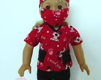 Valentine Hearts Dogs Pet Vet Scrubs, fits 18 inch dolls like American Girl Dolls, red scrubs top, black pants, mask, hat, handmade scrubs