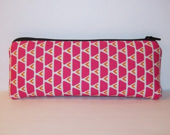 "Pipe Pouch, Pipe Case, Pipe Bag, Padded Pouch, Geometric Pouch, Pink & Orange Bag, Girly 420 Pouch, Stoner Gift, Vape Pen Case - 7.5"" LARGE"