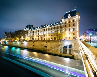 The Petit Pont and buildings along the Seine at night, in Paris, France. Photo Print, Metal, Canvas, Framed.