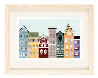 HELSINKI, FINLAND - Illustration Fine Art Print Of Colorful Buildings And Row Houses For Wall Decor 11 x 17, Scandinavian Architecture