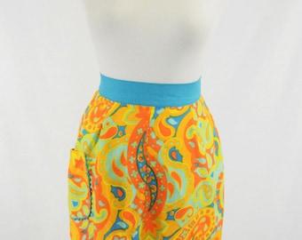 60s Psychedelic Mod Print Half Apron w Pocket // Cheery Orange, Yellow, Blue, Ric Rac Trim // Retro Domestic Goddess, Hostess Gift!