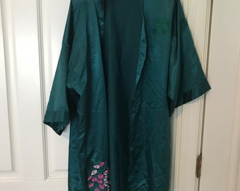 Teal Vintage Silk Shawl Jacket Sweater with Hand Stitched Flowers
