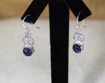 Amethyst earrings, sterling silver earrings, dangle earrings